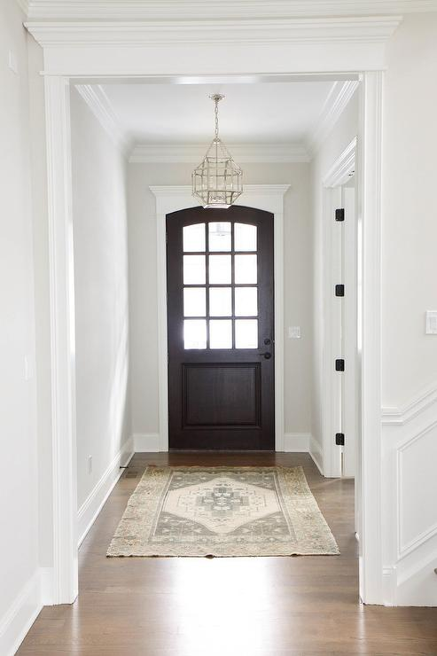 Door Entrance Foyer : Foyer with gray slate herringbone floor tiles and carriage