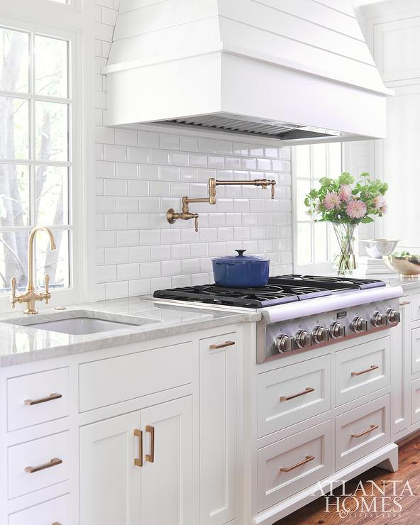 White Mini Beveled Subway Kitchen Tiles Transitional
