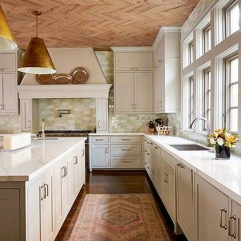 Light Gray KItchen With Herringbone Pecky Cypress Ceiling