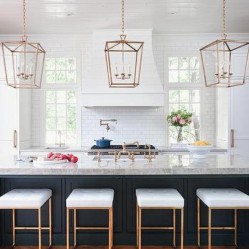 White And Gold Island Stools Transitional Kitchen