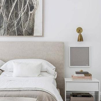 Gray Headboard With White Lacquered Nightstand