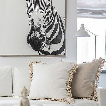 Zebra Art Over White Sofa