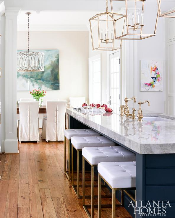 Dark Blue Kitchen Island With Gold Barstools