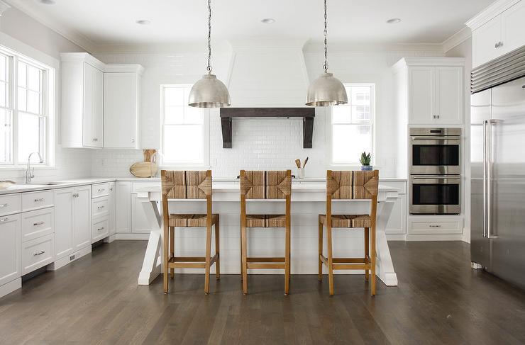 White X Based Center Island Transitional Kitchen