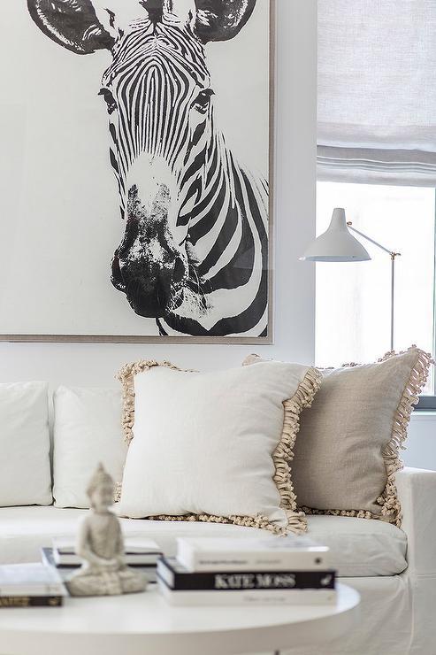 Zebra Art Over White Sofa