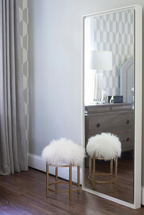 bedroom floor mirror. White Floating Wood Floor Mirror  Contemporary Bedroom
