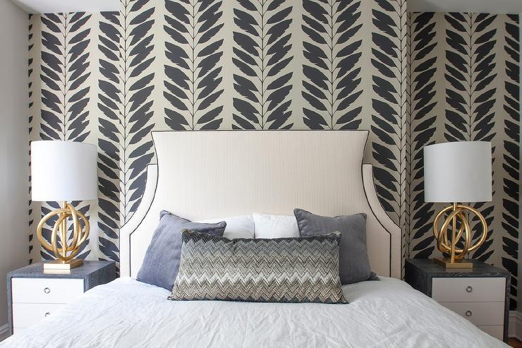 Black and Tan Feathers Wallpaper on Bedroom Accent Wall ...