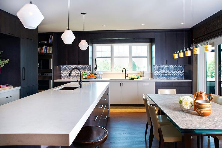 Black Flat Front Upper Cabinets With White Flat Front Lower Cabinets