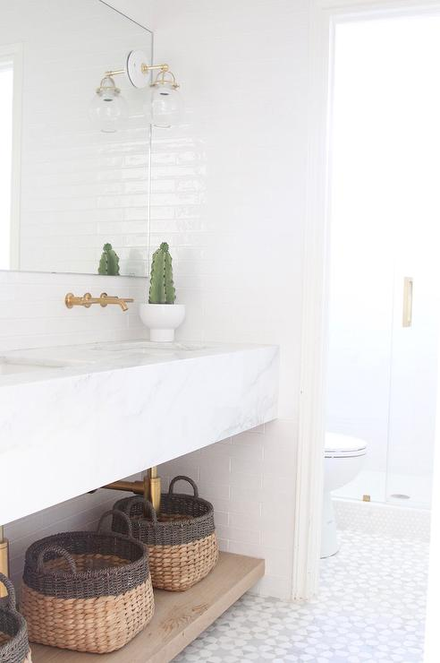 Baskets Under Sink Vanity Transitional Bathroom