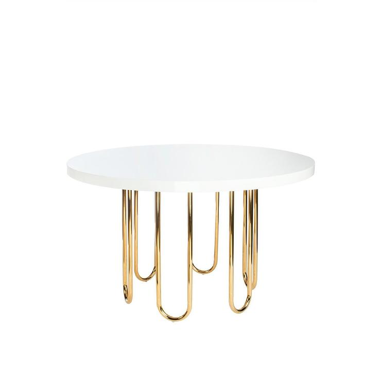 Willow Gold White Round Dining Table