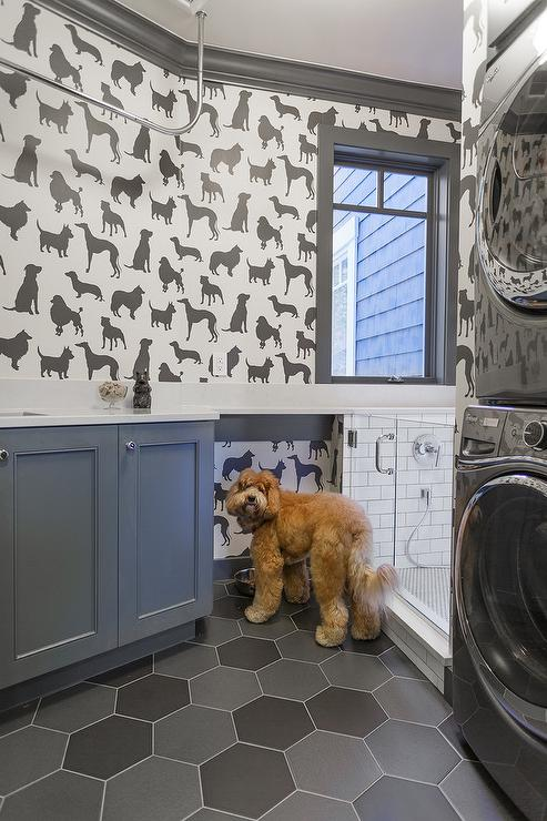 Laundry room with suds sign cottage laundry room for Dog friendly flooring ideas