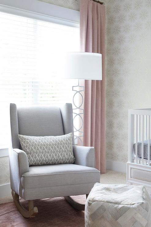 reputable site 26951 29bde Gray and Pink Girl Nursery with Gray Wingback Rocker ...