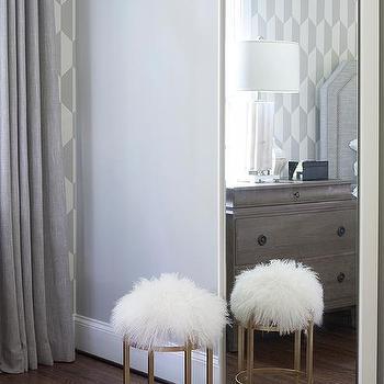 White Floating Wood Floor Mirror