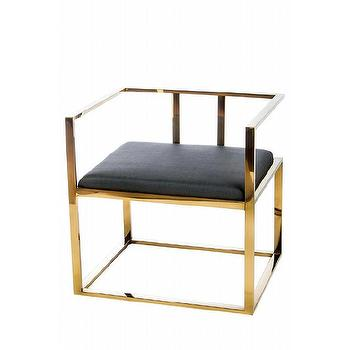 Alaia Blacl Gold Steel Lounge Chair