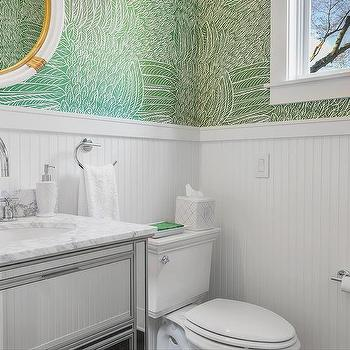 White And Green Powder Room With Beadboard Trim