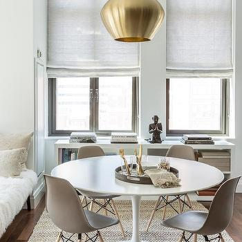 Round White Dining Table With GRay Chairs