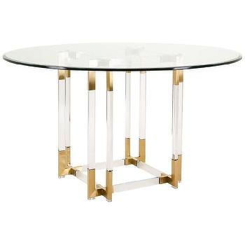 Koryn Acrylic Glass Top Gold Dining Table