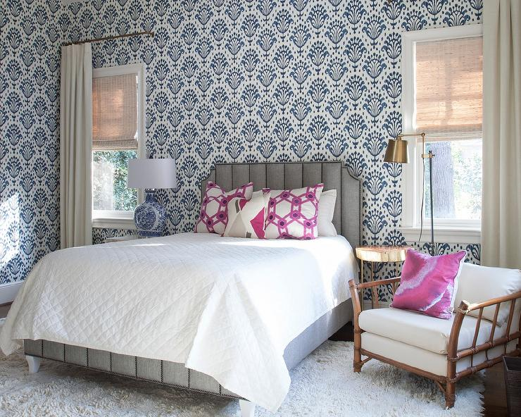 welcoming blue and gray girlu0027s bedroom boasts a gray art deco bed accented with white bedding topped with pink geometric pillows