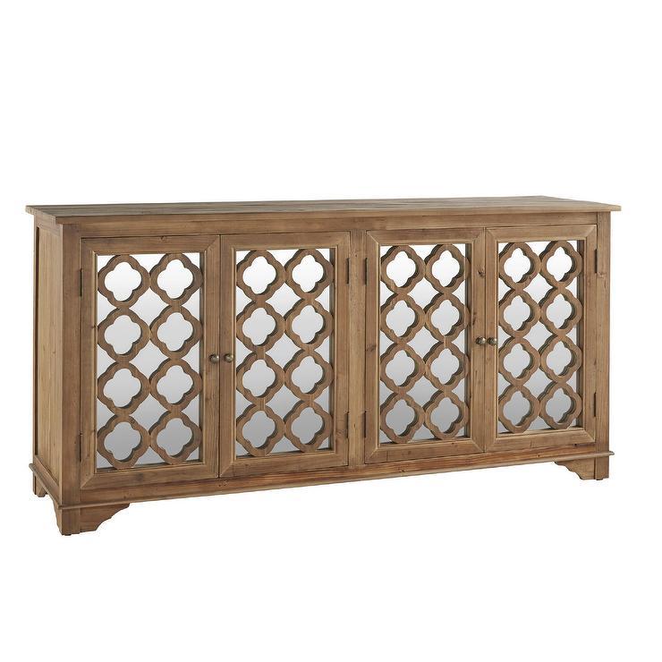 Wonderful Hamptons Quatrefoil Reclaimed Mirrored Buffet Sideboard Cabinet