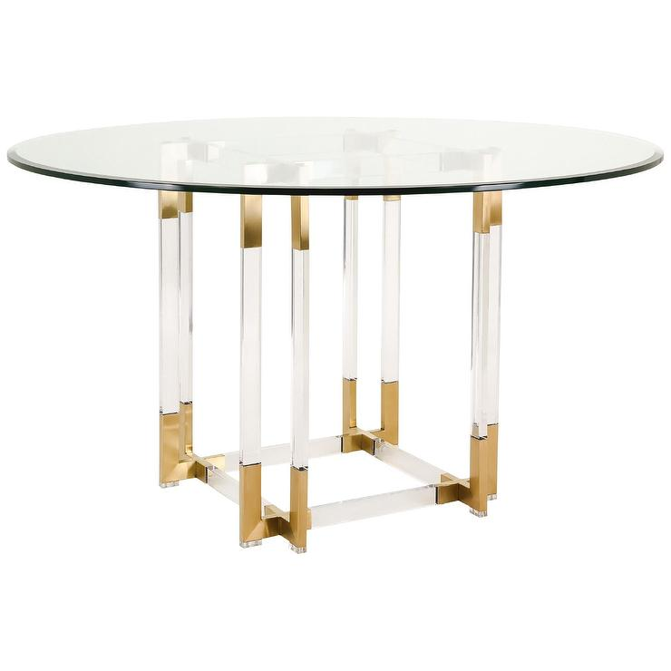 Gold Dining Tables ~ Koryn acrylic glass top gold dining table