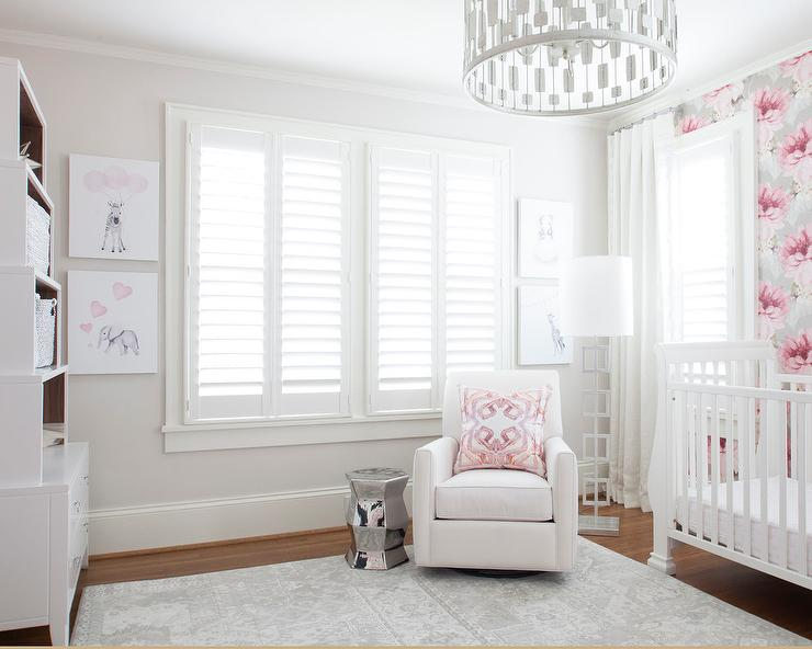 Pink And Gray Nursery Accent Wall Transitional Nursery