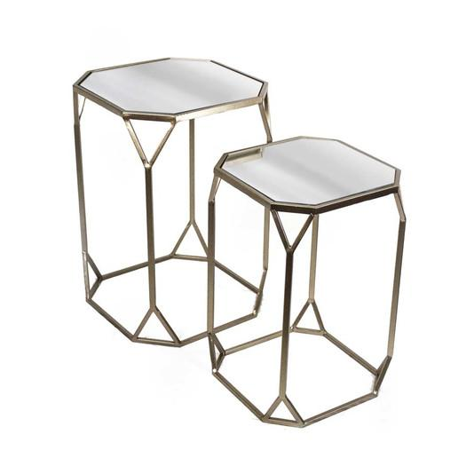 Geometric Base Mirrored Top End Tables