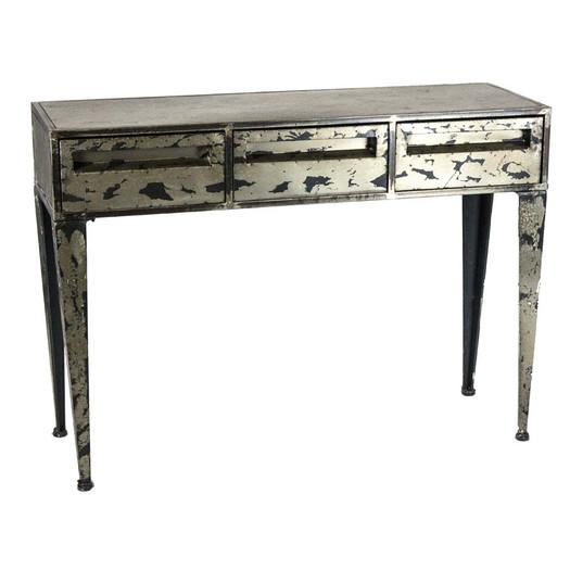 Home Silver Distressed Console Table