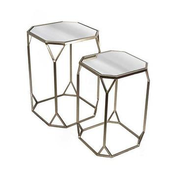 Superb Set Of Two Metal Mirror End Tables