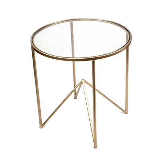 SagebrookHome Metal Gold Glass End Table
