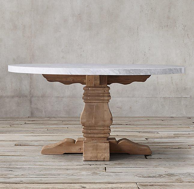 Salvaged Wood And Marble Trestle Round Dining Table