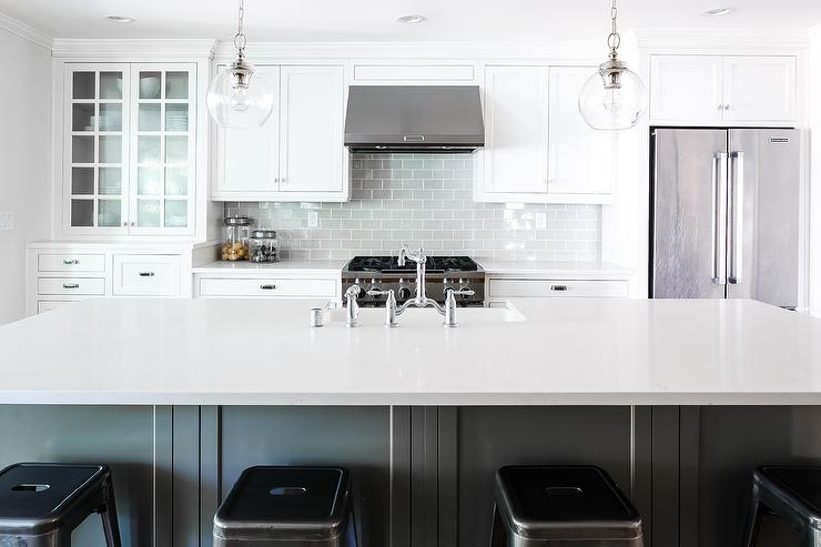 White And Gray Kitchen With Heather Gray Subway Tiles