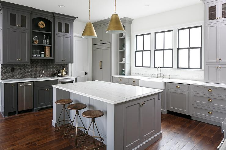 Wonderful Charcoal Gray Kitchen Bar Cabinets With Black Tin Backsplash
