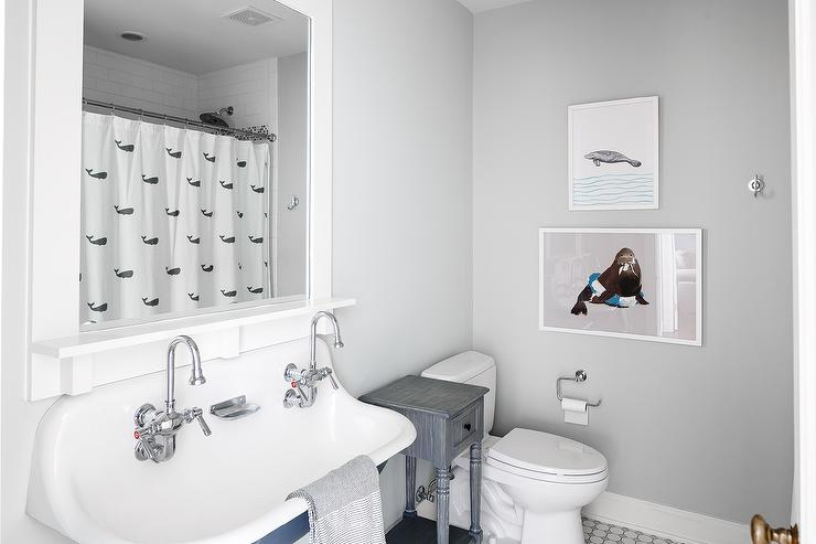 Blue And Gray Boys Bathroom With Whale Shower Curtain