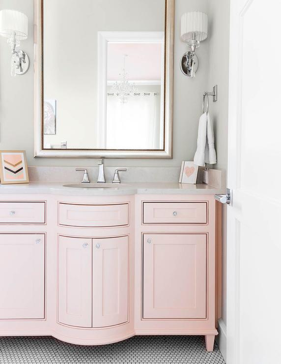 Charmant Pink Sink Vanity With Silver Leaf Beaded Mirror