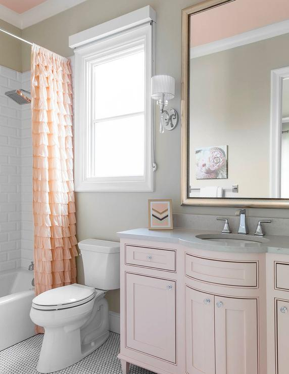 Pink and gray kid bathroom color scheme traditional for Pink grey bathroom accessories