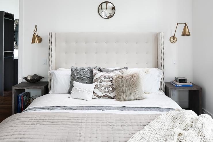 White Tufted Wingback Headboard with Gray Wash Open ...