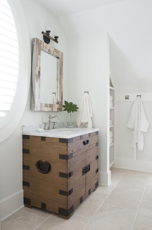 Asian style washstand with carrera marble top for Bathroom alcove shelves