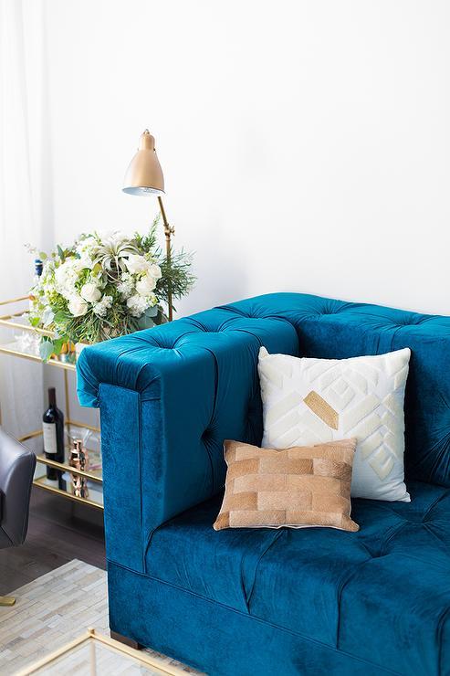 Blue Velvet Sofa Eclectic Living Room Benjamin Moore