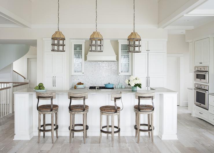 White Beach Style Kitchen With Gray Wash Oak Wood Floors