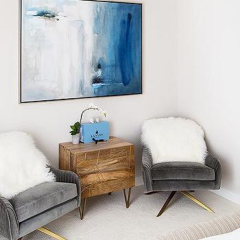 Gray Velvet Chairs With Blue Abstract Art