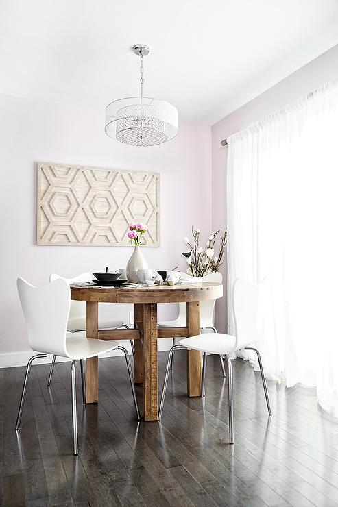 Contemporary Pink Dining Room Features A Round Dining Table, West Elm  Emmerson Reclaimed Wood Round Dining Table, Lined With White Dining Chairs,  ...