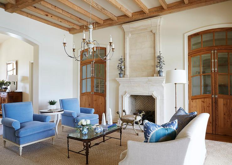 White and Blue French Style Living Room
