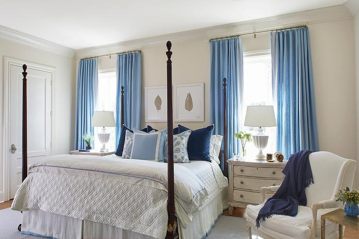 Cornflower Blue Bedroom Curtains Design Ideas