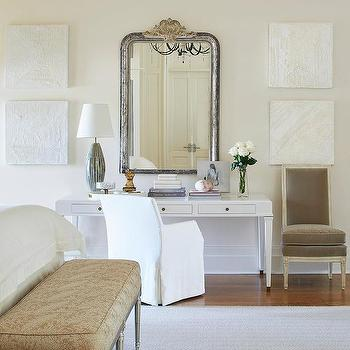 Distressed Silver Mirror With White Makeup Vanity