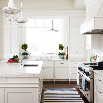 Superieur Black And White Striped Runner In Front Of Stove