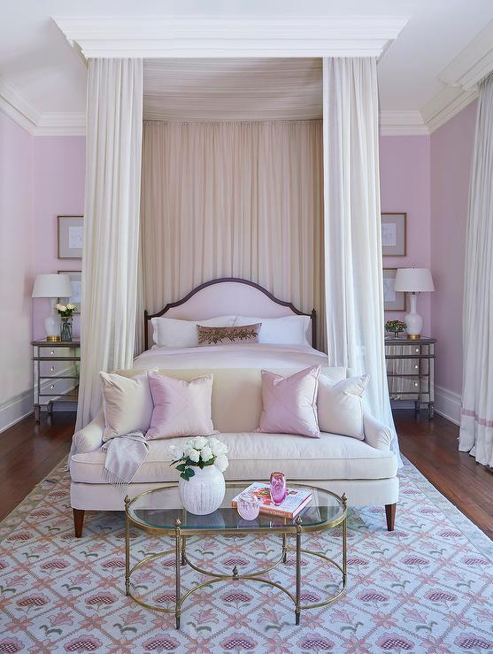 Pink grown-up bedroom features a pink arch headboard on bed dressed in pink silk bedding tucked under a ceiling mount canopy accented with cream sheer ... & Ceiling Mounted Curtain Rods - Transitional - bedroom - Alys Beach