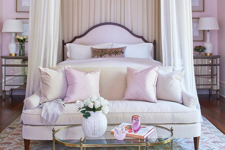 Pink bedroom features a pink arch headboard on bed dressed in pink silk bedding tucked under a ceiling mount canopy accented with cream sheer curtains ... & Ceiling Mount Bed Canopy Trim Design Ideas