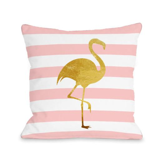 Lovely Tropical Stripes Flamingo Fleece Throw Pillow LC72