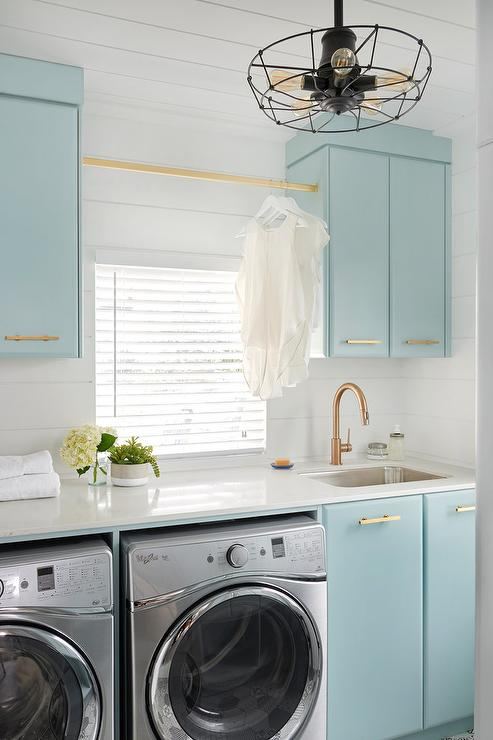 Gorgeous Blue and Gold Laundry Room by Decorpad