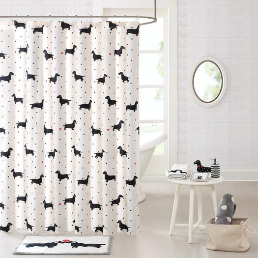 Dachshund Cotton Printed Shower Curtain